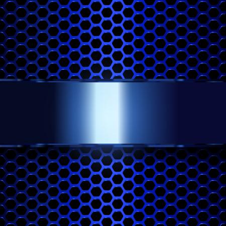 Geometrisch patroon van zeshoeken met blauwe metallic banner. EPS10