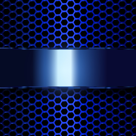 Geometric pattern of hexagons with blue metallic banner. EPS10 Vectores