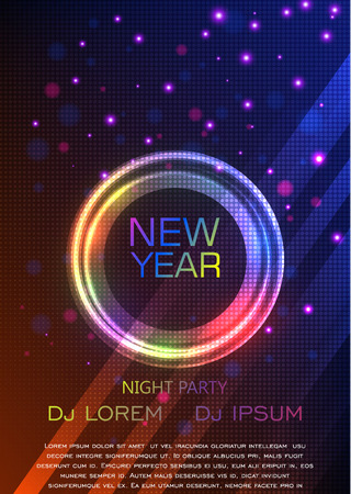 night party: New year and Christmas party poster template. Vector illustration. A4