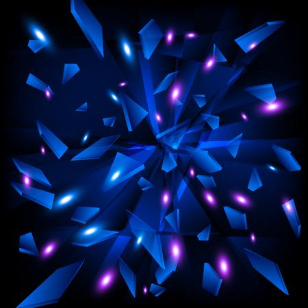 Blue techno style explosion.  Ilustrace