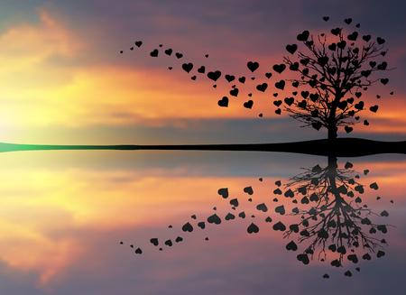 Árbol abstracto hecho con los corazones.