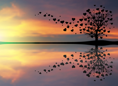 sunset lake: Abstract Tree Made With Hearts.