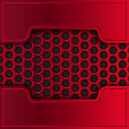 red metal: Vector metallic banner. Red metal plates. Illustration