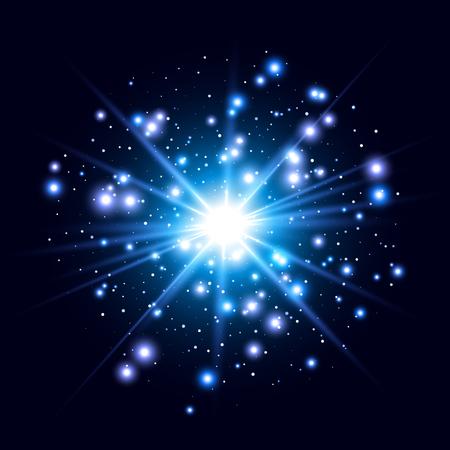 輝き光の効果。輝きとスター バースト。抽象的なベクトル イラスト EPS10