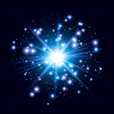 Glow Lichteffekt. Star burst mit Scheinen. Zusammenfassung Vektor-Illustration EPS10 Standard-Bild - 51294179