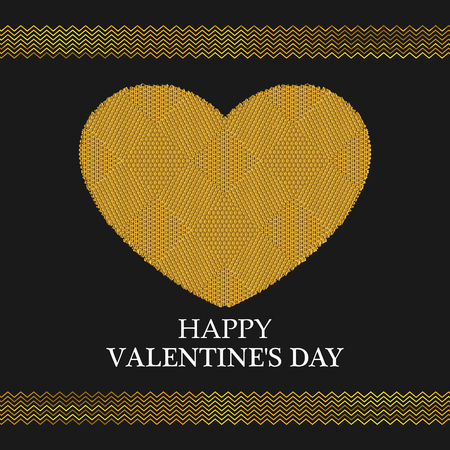 golden heart: Valentines Day Greeting Card. Golden Heart. Valentines day background. EPS10 Illustration