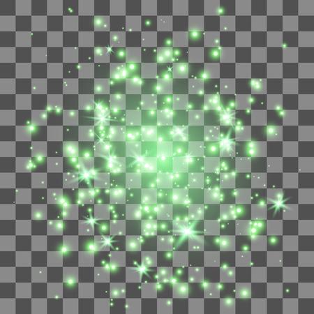 輝き光の効果。透明の背景上に点灯します。黄金の星屑の背景。