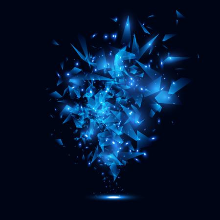 debris: Blue techno style vector explosion.