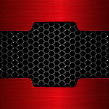 Red chrome. Geometric pattern of hexagons with red metal plates. Zdjęcie Seryjne - 52756017