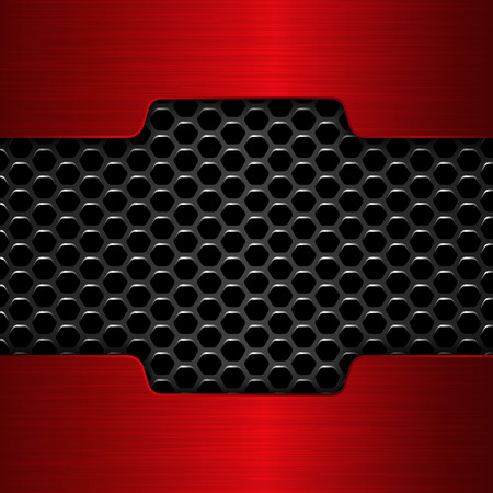 polished: Red chrome. Geometric pattern of hexagons with red metal plates. Illustration