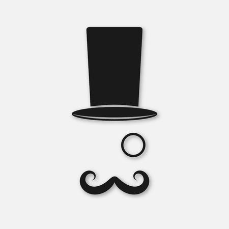 cartoon hat: Top hat icon. Old fashioned gentleman icon. Vector illustration EPS10 Illustration