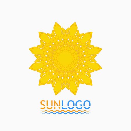 yellow star: Sun icon. Sun logo. Summer design. Round ornament pattern.