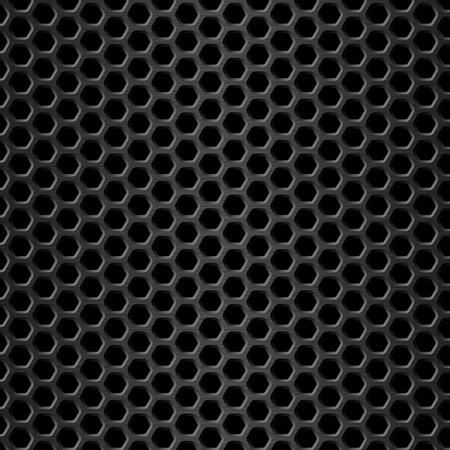 Honeycomb background. Black metal texture. Vector illustration. Geometric pattern of hexagons.