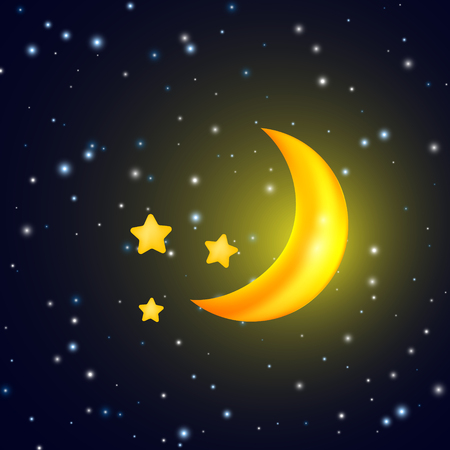 evening sky: Moon and stars. Vector background with evening sky. Vector template design Illustration