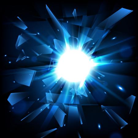 Blue techno style vector explosion. Vector illustration.