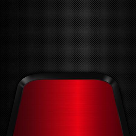 Red metal plate. Black metal background. Vector illustration