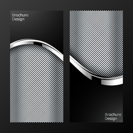 black and silver: Set of Brochure Flyer design vector template. Abstract luxury background with wave