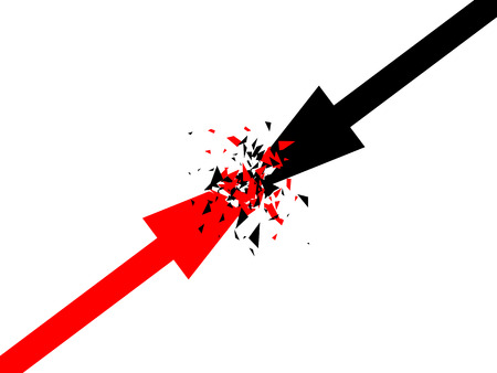 adversary: Abstract vector background with arrows. Two opposite forces clashing.