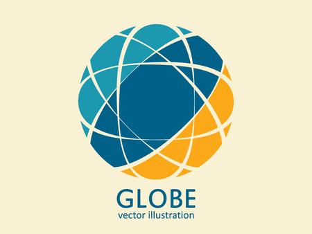 Globe logo template. Geometric globe icon. Vector abstract design