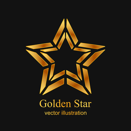 lucero: logotipo de la estrella de oro. icono de la estrella del oro. Estrella del oro abstracta sobre fondo negro. ilustración vectorial Vectores