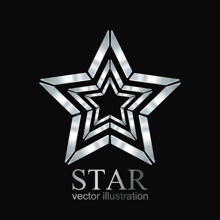 estrellas cinco puntas: Star logo. Silver star logo. Star icon. Vector illustration Vectores