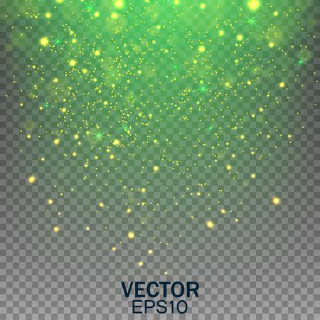 Stardust on a transparent background. Falling Star. Glow light effect. Golden lights.