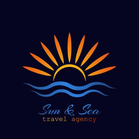 Logo du soleil et de la mer. Concept de symbole créatif agence de voyages.