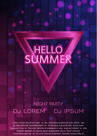 party club: Club Party Flyer. Hello Summer Party Flyer A4. Vector Design Illustration