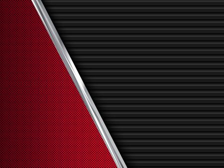 fibra de carbono: Fondos del metal rojo y negro. Resumen ilustración vectorial de EPS10