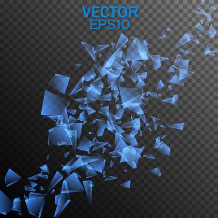 Broken glass. Vector transparent fragments. Vector design 일러스트