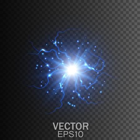 透明な背景に稲妻します。魔法と明るい照明効果。ベクトル図