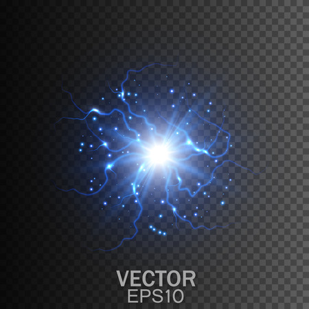 Lightning on a transparent background. Magic and bright lighting effects. Vector Illustration