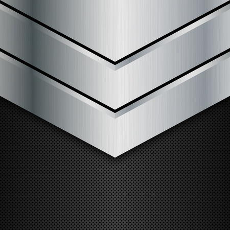 Silver and black metal background. Vector illustration