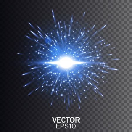 青いベクトル爆発。輝きとスター バースト。輝き光の効果。透明な背景のベクトル図  イラスト・ベクター素材