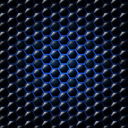 reflective: Abstract blue background with hexagons. Vector illustration