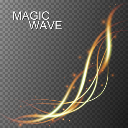 Magic glowing wave on transparent background. Vector light effect Çizim