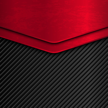 黒と赤メタリックな背景。グランジ金属背景。ベクトル金属バナー。抽象的な背景  イラスト・ベクター素材