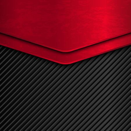 Zwart en rood metallic achtergrond. Grunge metal achtergrond. Vector metallic banner. achtergrond