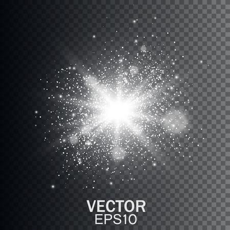 透明と白の輝く光バースト爆発。輝き光の効果。  イラスト・ベクター素材