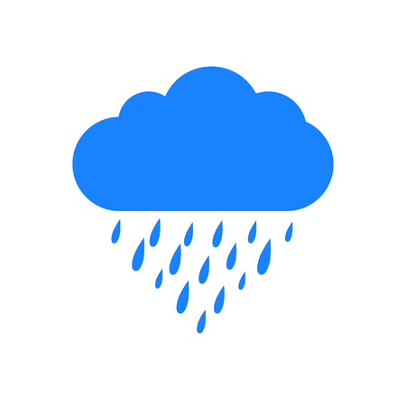 Rain icon. Rain cloud. Blue Rain Cloud. Cloud and rain drops. Cloud icon. Rain icon on a white background