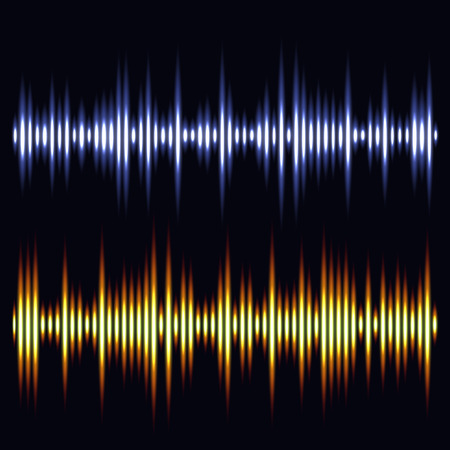 vibrations: Vector sound waves. Audio wave design. Vector illustration Illustration
