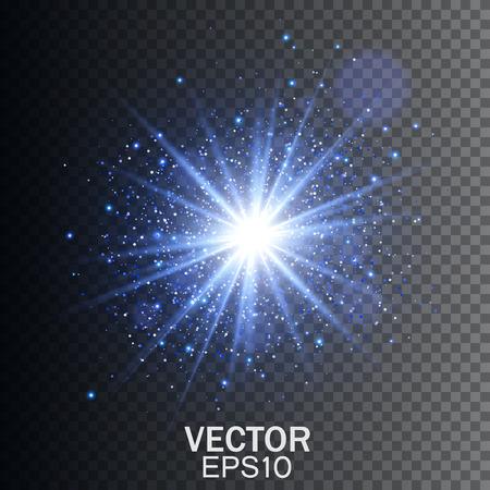 輝き光の効果。輝きとスター バースト。青色の輝く光は、透明な爆発をバーストします。透明な光の効果