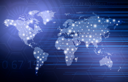digital world: Abstract Digital Technology Background With World Map. Vector Template Design