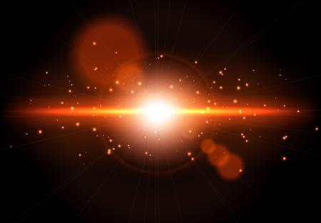 黒の背景に爆発。輝く光の効果をベクトルします。レンズ フレア エフェクト。