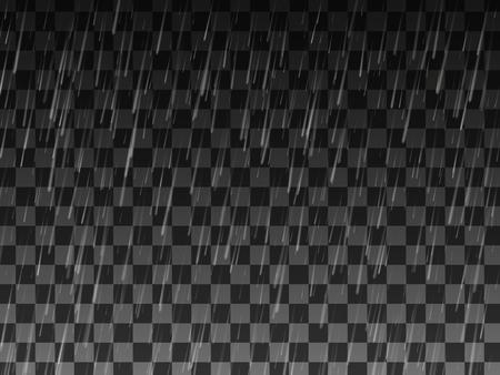 Lluvia. Fondo con lluvia. Gotas de lluvia sobre el fondo transparente. Clima lluvioso. Ilustración de vector