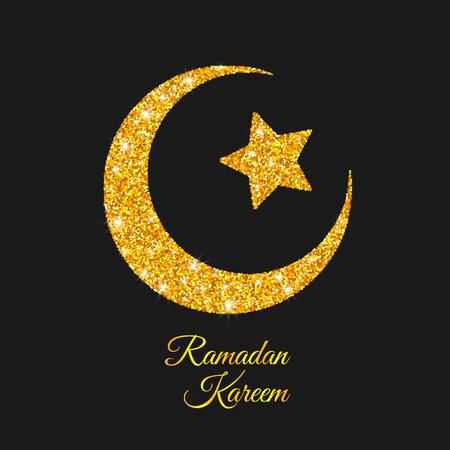 crescent: Ramadan Kareem. Ramadan Moon. Golden Crescent and Star. Islam Symbol. Vector Illustration