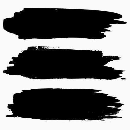 ブラシ ストロークのコレクション。グランジ ブラシ ストローク。ベクター ブラシ ストローク。黒グランジ テクスチャ。ベクトル EPS8
