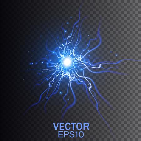 electric shock: Un rayo sobre un fondo transparente. La magia y efectos de iluminación brillante. Ilustración del vector