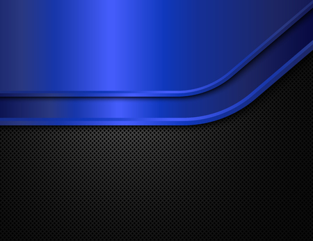 blue metal: Black and blue metal background. Vector design template