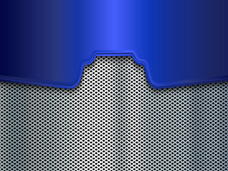 blue metal: Silver and blue metal background. Vector illustration